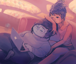 Joy x Sadness laptop lounging by catharticaagh