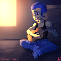 Commission: A Little Guitar Practice by Shrineheart