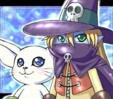cute Wizardmon and Gatomon by Leen-galeas