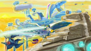 Last Defense of Cloudsdale by Zeeclaw