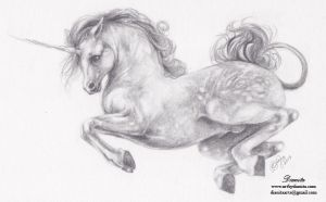 Jump - Unicorn pencil drawing by BlackAngel-Diana