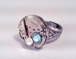 Round Steampunk Ring w Crystal by SteamDesigns