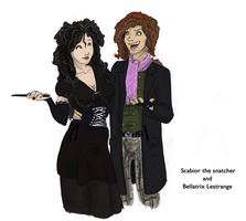 Scabior and Bellatrix by Iguana-in-Darkness