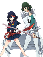 Kill La Kill - Ryuko and Uzu Render by lraskie