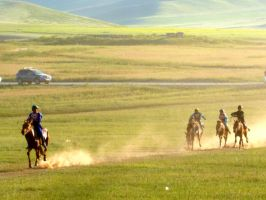 Mongolian Holiday-Nadan Horserace by DaraBlack