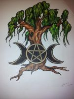 Willow Tree and Pentacle Tattoo design. by Valkyriestears