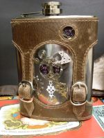 Steampunk flask with inlay by Justenjoyinglife