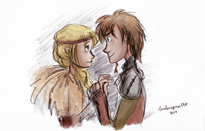 Astrid and Hiccup by ilcielocapovolto