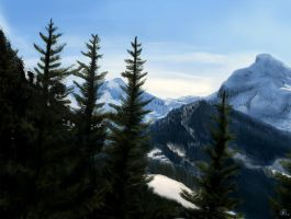 Mountain Scene by lberry1976
