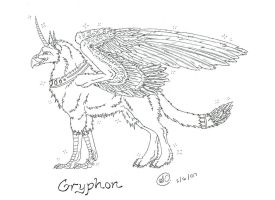 Canine Gryphon Lineart by SaraChristensen