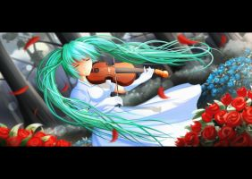 Vocaloid : Miku and The Violin by BloodyBlack1234