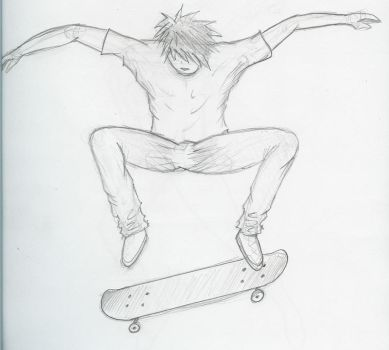 drawing of a skater by awqaw