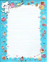 Kawaii Kitten notebook paper by TheUndertakersKitty