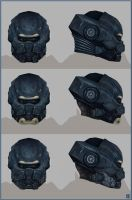Blue helms by FirstKeeper