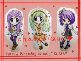 Birthday Commission: Coloured Chibis by OchaHolique