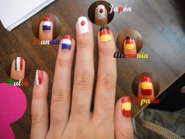 Flags nails by Mai-ChanL