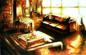 room alone oil painting by ahmetbroge