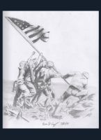 Flag Raising at Iwo Jima by warman707