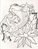Fish and Lotus lines by empan