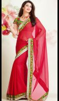Red-Chiffon-Resham-Enhanced-Saree-FD-1754-38180 la by ethniclover