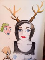 Lady with antlers by prickles-n-cheese