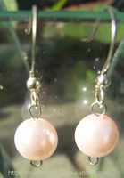 Pink Pearl Earrings by MuffinSquee