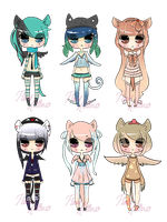 { Winged Cat Girls : CLOSED } by FloralKittens
