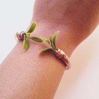 Green Leaves Copper Cuff Bangle by cranegoose