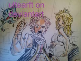 natsu lucy and happy my drawing process part 3 by FTerza