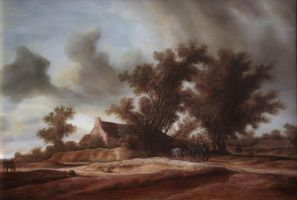 Dan Scurtu - Landscape after Salomon Van Ruysdael by DanScurtu