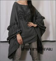 Grey Wool Victorian Poncho by yystudio