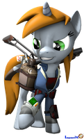 LittlePip with her PipBuck and Raider Armor [SFM] by Longsword97