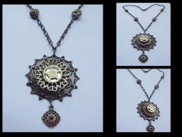 Steampunk flower Necklace 3 by tanyadavisart