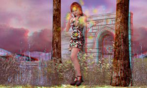 Girl and Magic - Anaglyph by HairyDalek