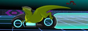 T-Rex on a Lightcycle by Danthor