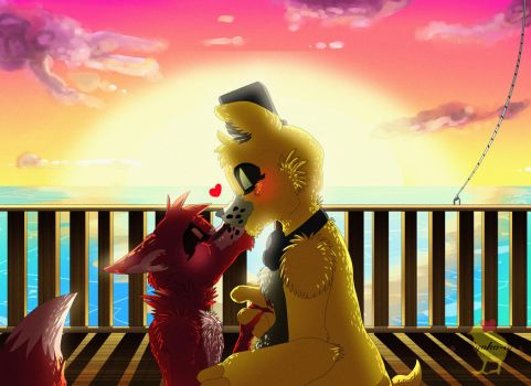 Kiss at the sunset [ Golden Freddy x Foxy ] by Aunty-chick
