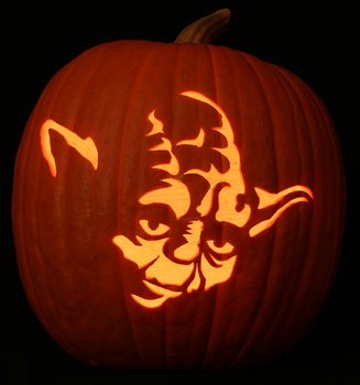 Yoda Pumpkin Light Version by johwee