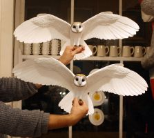Hand made paper and resin owl sculptures by ZackMclaughlin