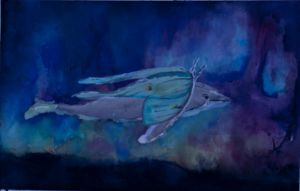 landmoth airwhale passing the northern lights by concretedandelions