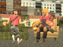 Scout and Engie hanging out by 33482