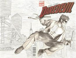 Daredevil blank cover commission by Meador