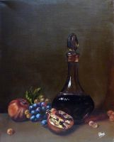 Pomegranate, grapes and carafe of wine by v-a-m-p-i-r-o