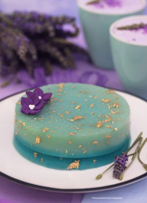 Lavender Cream Cheese Jelly with Edible Gold Flake by theresahelmer