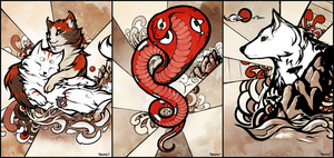 Sumi-e style. The cats, the snake and the dog. by Shalinka