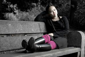 Booted girl on a bench - 2 by stereo-B