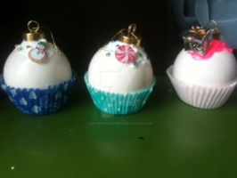 Cupcake Christmas tree ornaments!! by muffinthehamster11