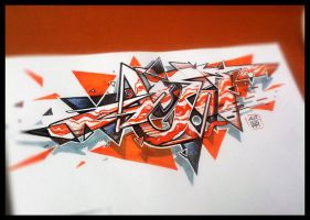 graffiti sketch orange triangle by acet1