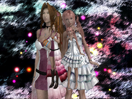3D Aerith and Serrah Wallpaper by acidlullaby08
