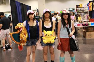 AM2 2011 Day3: Pokemon trainers Ash, White, Green by JessiieFase