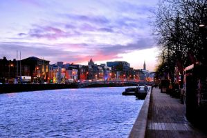 Dusky sky over River Liffey by Aishlling